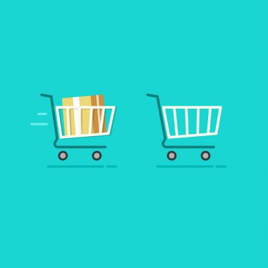Shopping cart full and empty vector icons