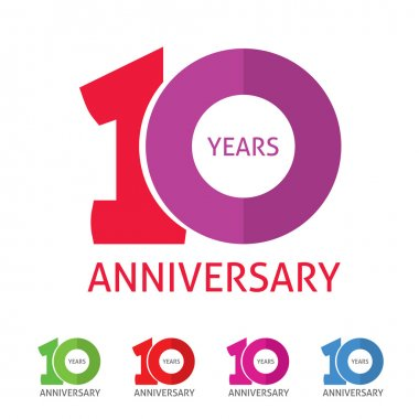 Anniversary 10th  logo template with shadow on circle number 1