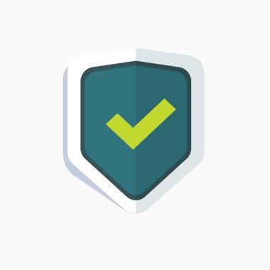 Blue shield with green check mark symbol icon