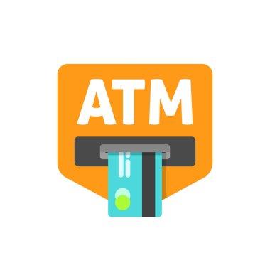 ATM sign vector illustration, cash machine inserting credit card