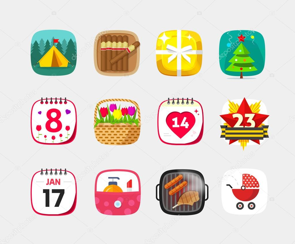 Mobile app icons vector set isolated on gray background