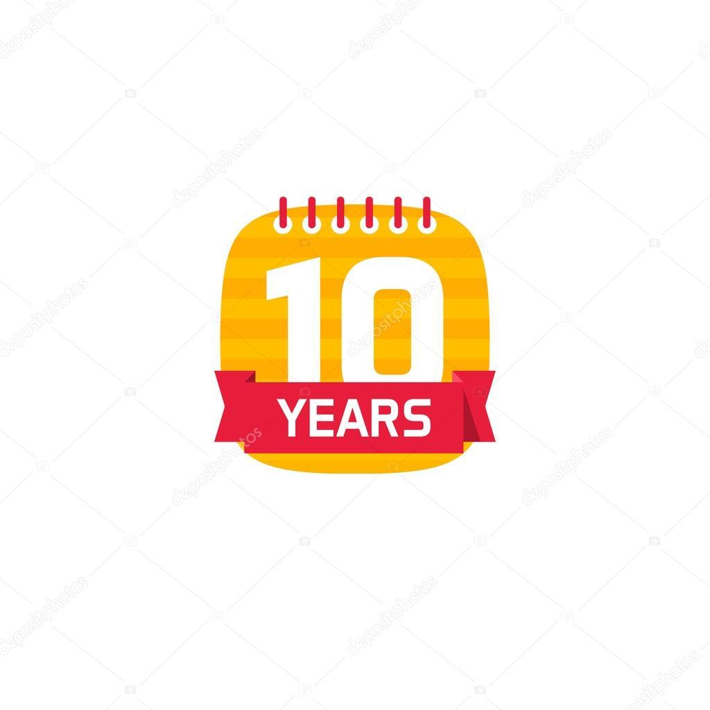 10 周年記念カレンダーのロゴ 10 年アイコン ストックベクター