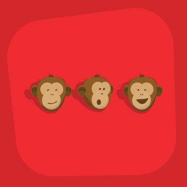 Monkeys faces smile emotions vector