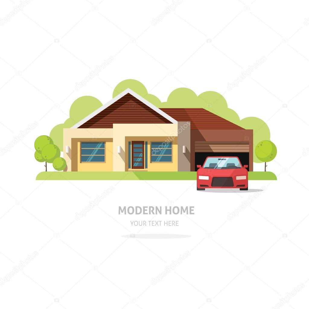 Haus Fassade Zeitgenössische Moderne Flach. Haus Traditionellen  Cottage Vektor Illustration. Hellen Familie Haus Vorderansicht Mit Bäume,  Garten, Garage.