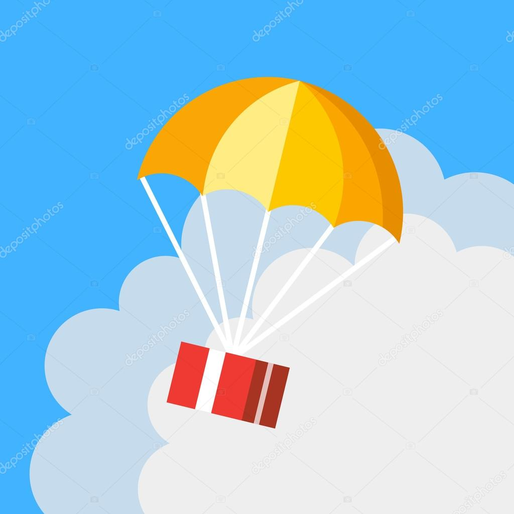 Delivery concept, parachute icon. Gift box flying in blue sky