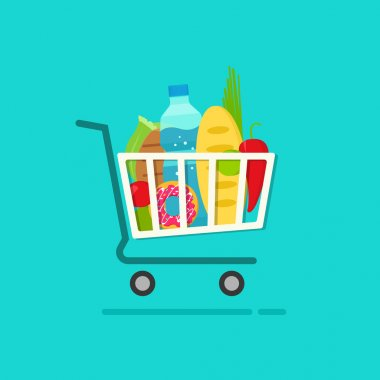 Grocery shopping cart with full of fresh products vector illustration