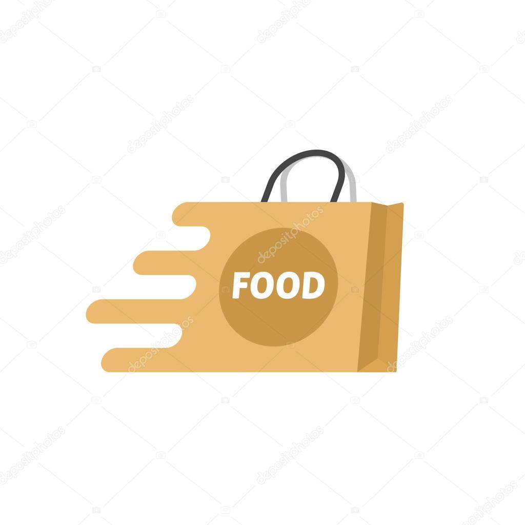 Creative Supermarket Logo Template: Food Delivery Vector Logo Isolated, Shopping Bag Stock