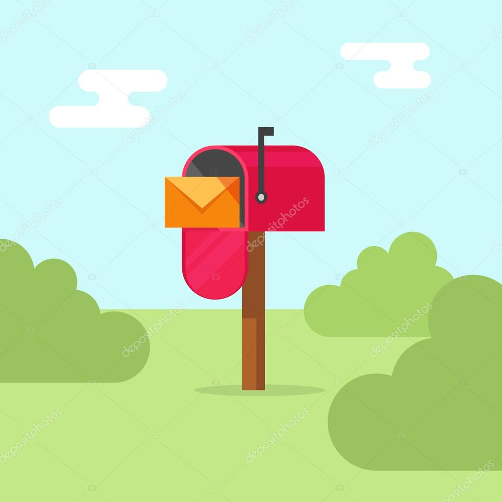 Mailbox vector illustration, post office box on nature