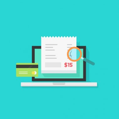 Online payment audit analyzing vector, pay bill tax research concept