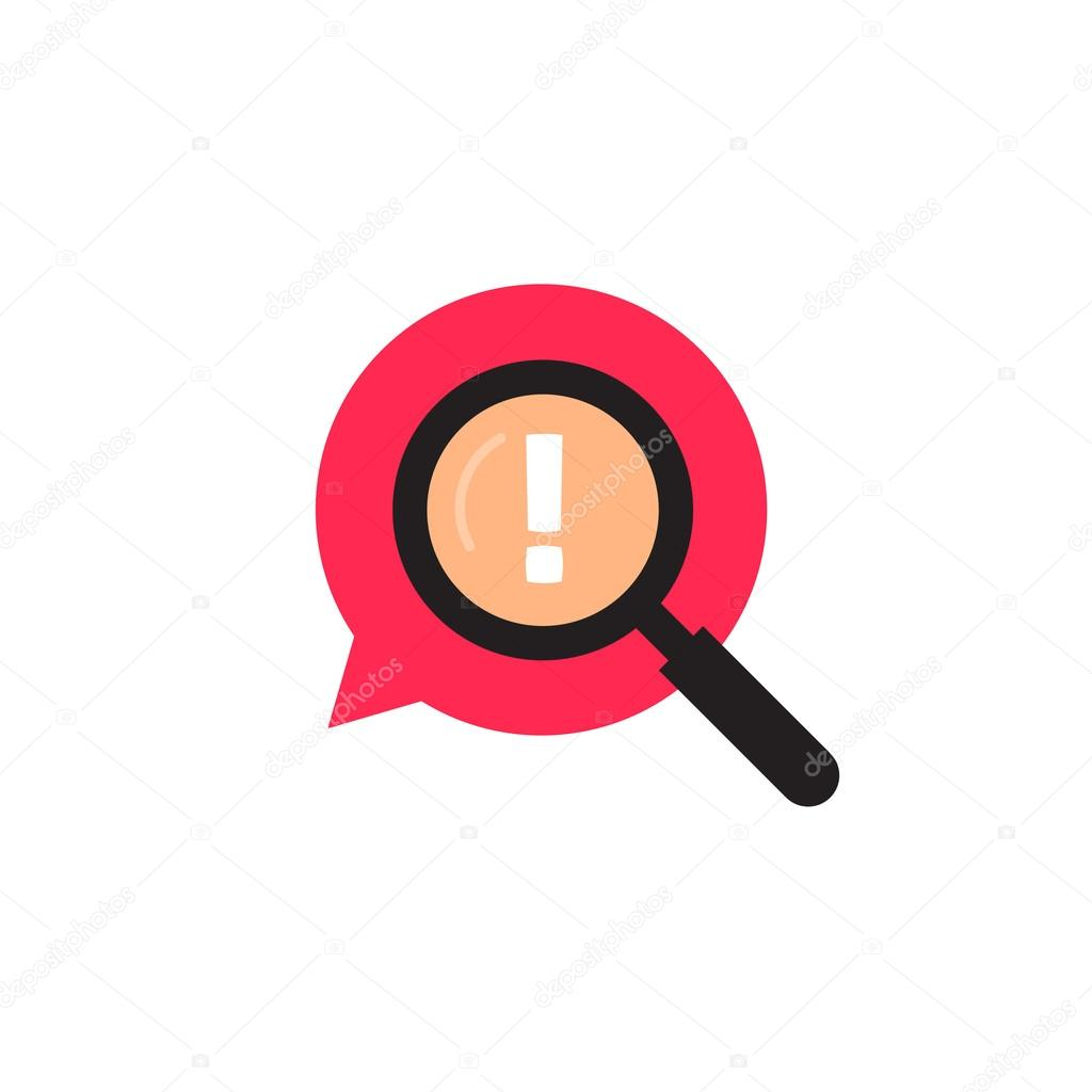 Red bubble speech with magnifying glass logo, exclamation mark icon