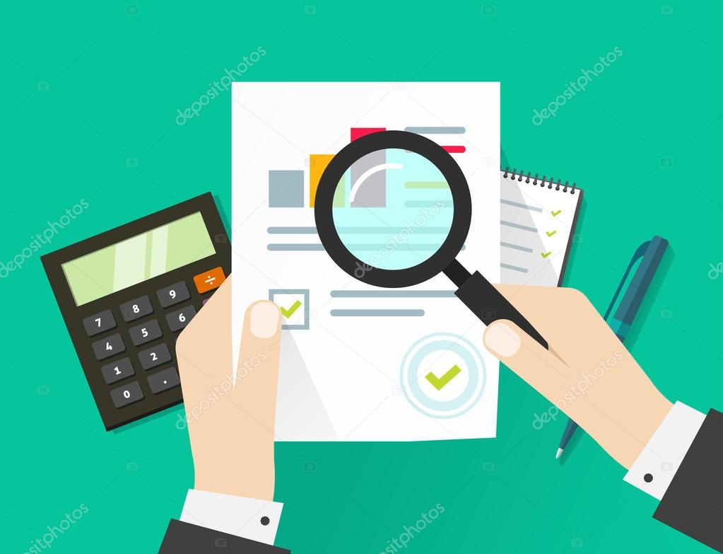financial audit, auditing tax process, paper sheet with hands