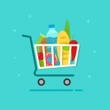 Grocery cart vector illustration isolated on color background, flat cartoon grocery shopping cart icon with fresh organic food products, groceries supermarket trolley stock vector