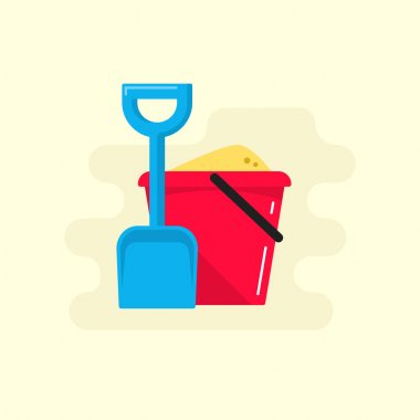 Bucket and spade with sand vector icon