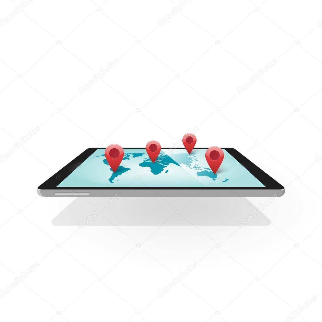 Mobile gps navigation 3d tablet with world map navigator technology smartphone mobile gps navigation vector illustration isolated on white flat 3d tablet with world map navigation concept of navigator technology vector gumiabroncs Image collections