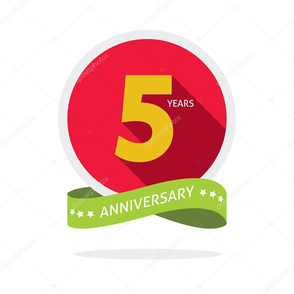 Anniversary 5 years logo badge 5th birthday flat sticker stock 5th anniversary logo badge template with shadow number 5 five 5 years birthday flat icon five years party symbol fifth anniversary vector sticker biocorpaavc Gallery
