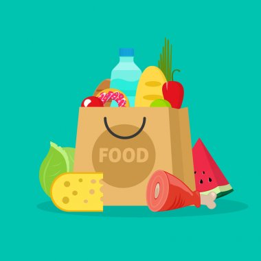 Grocery bag vector illustration isolated, paper packet of groceries