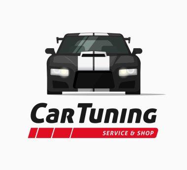 Car tuning shop vector banner, sticker, auto service centre logo