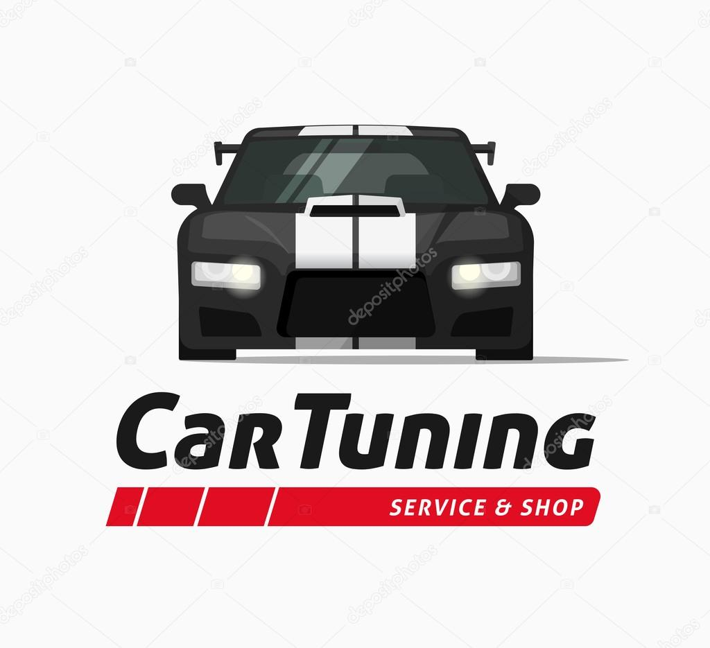 Car tuning shop vector banner, sticker, auto service centre logo ...