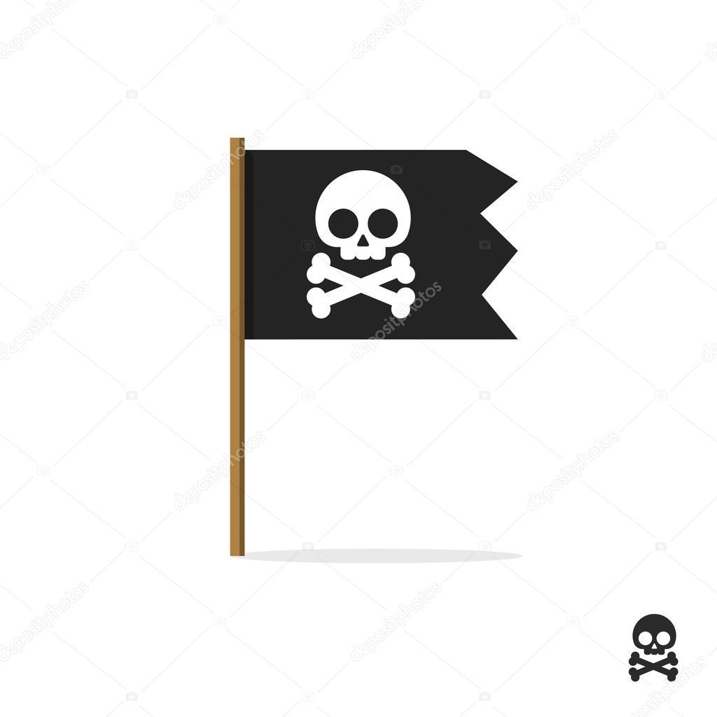 Pirate Flag Vector Symbol Icon Skull Crossbones Bones Shape Label