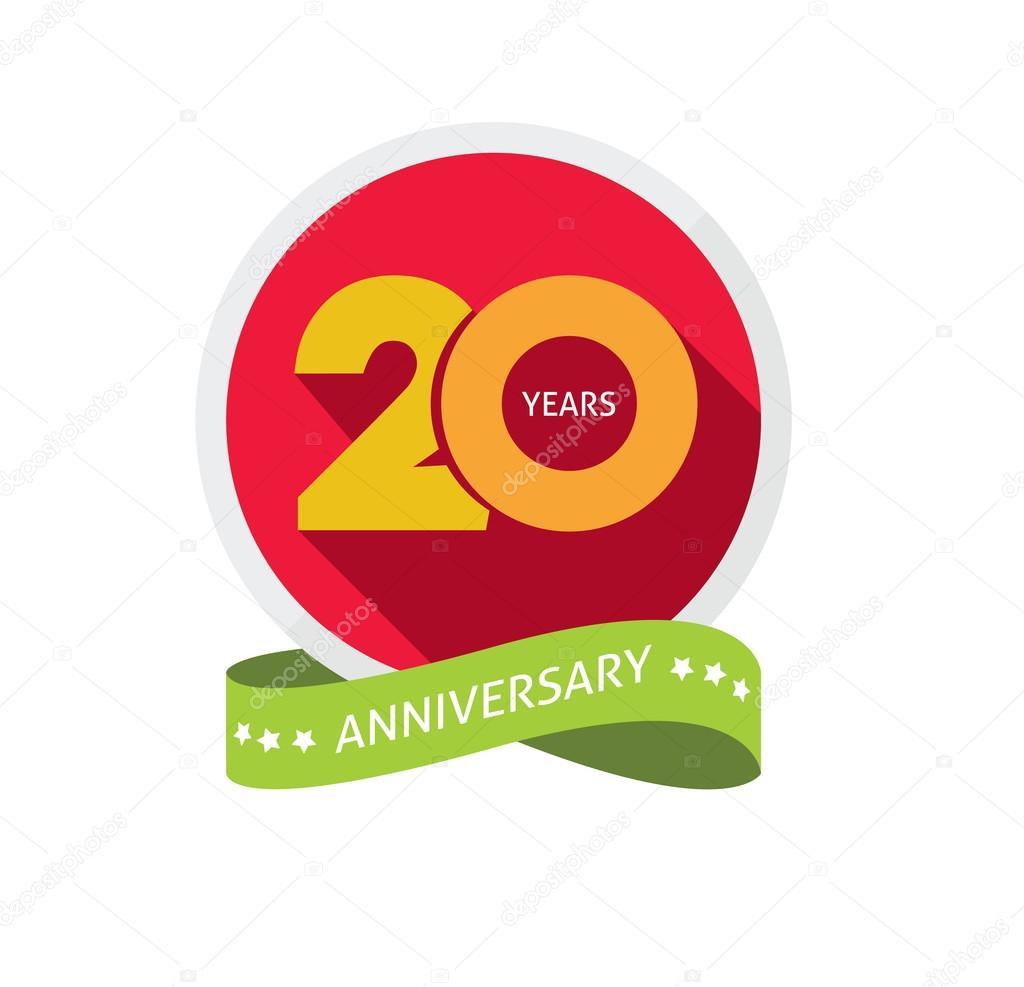 Logo Anniversaire De Vingt Ans étiquette Collante De 20 Ans