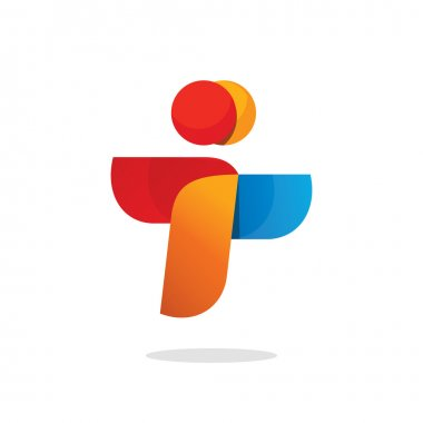 Two people vector logo abstract friends, teamwork sign, airlines connect