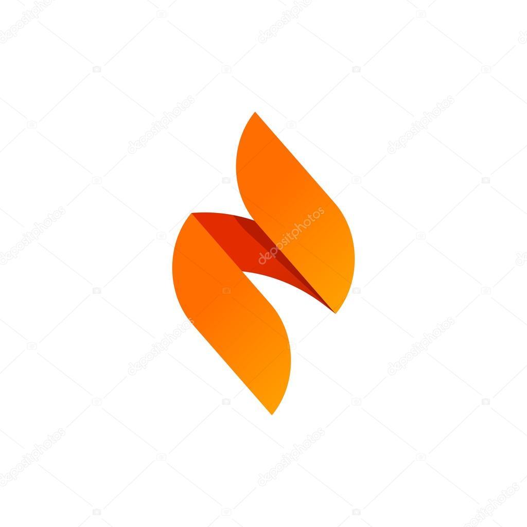 Flame vector logo design isolated, sharp spear elegant geometric ...