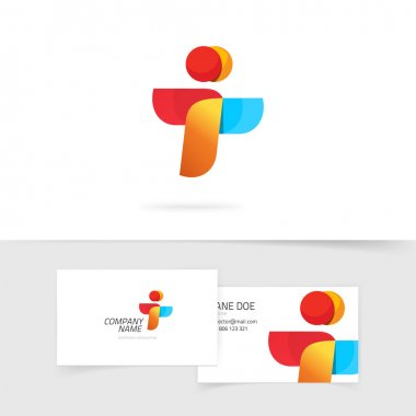 Two element abstract vector logo and business card design