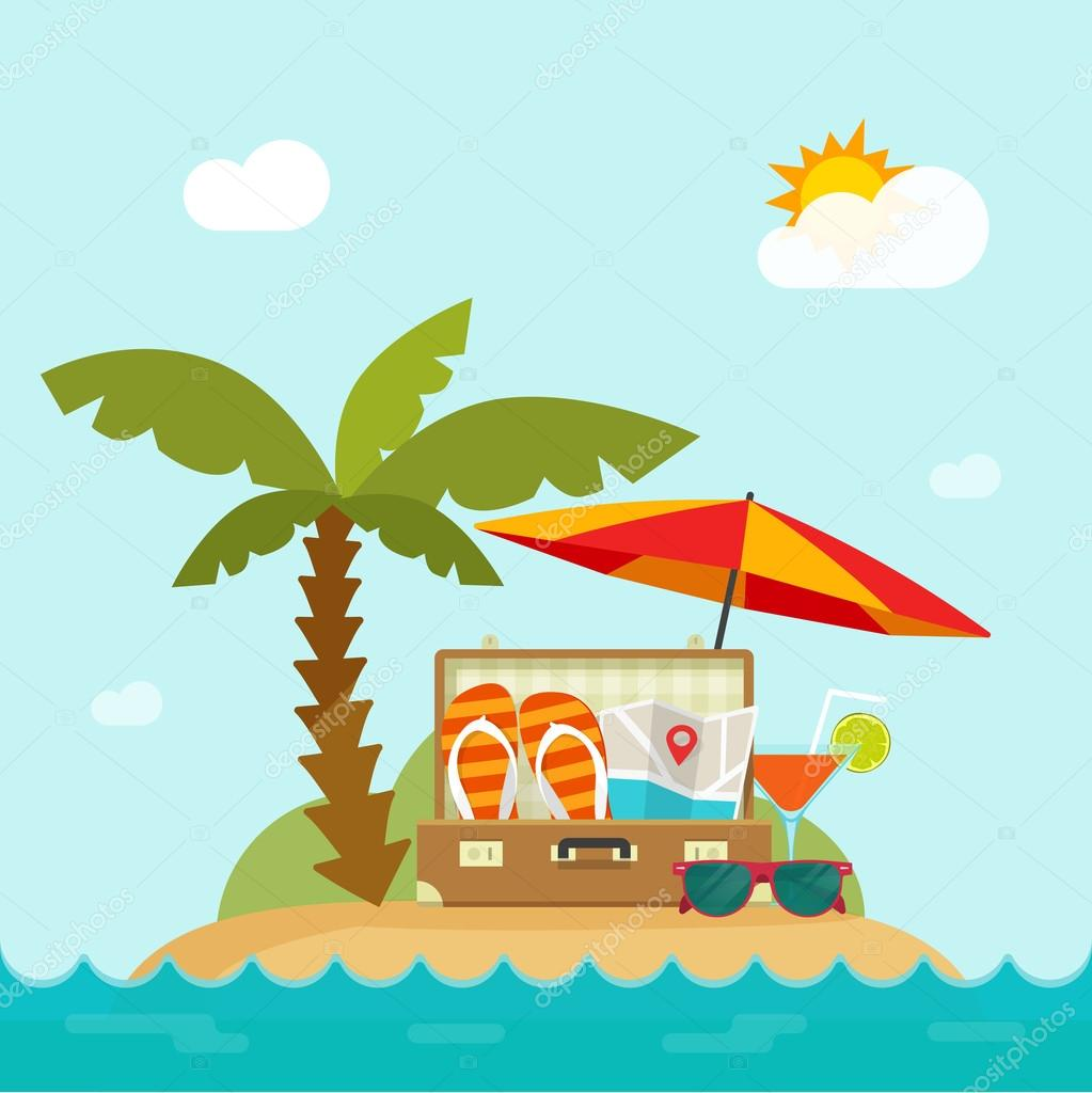 Summertime Trip Resort Island Beach Concept Of Happy Summer Holiday Stock Vector
