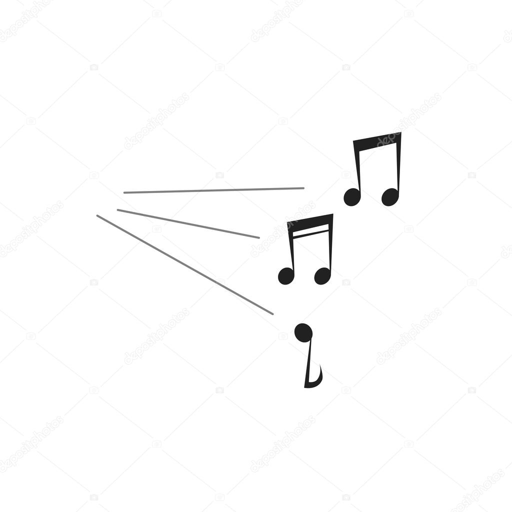 Loud Music Notes Sound Vector Illustration Isolated On White Stock