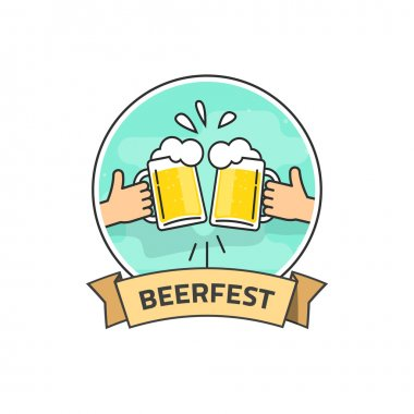 Beer festival vector label isolated on white background