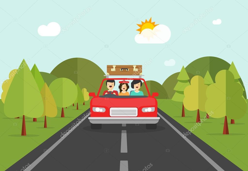 Vector Feliz Viaje Familia