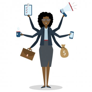 Multitasking woman standing on white.