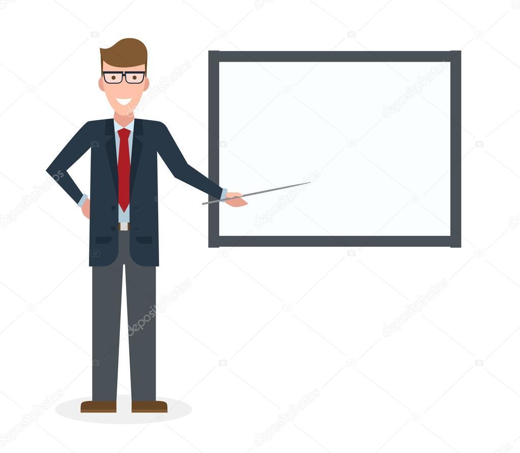 Persona exponiendo dibujo empresario con junta Vector