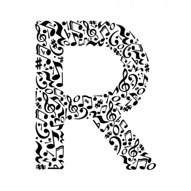 Letter made of musical notes.