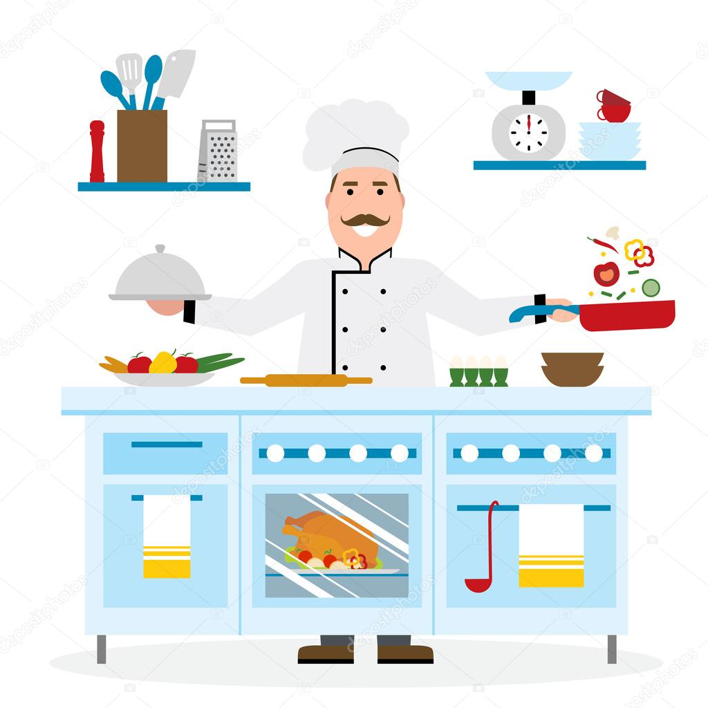 Male chef cooking.