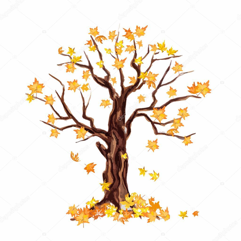 Sulu Boya Kuru Ağaç Stok Vektör Inspiringvectorgmailcom