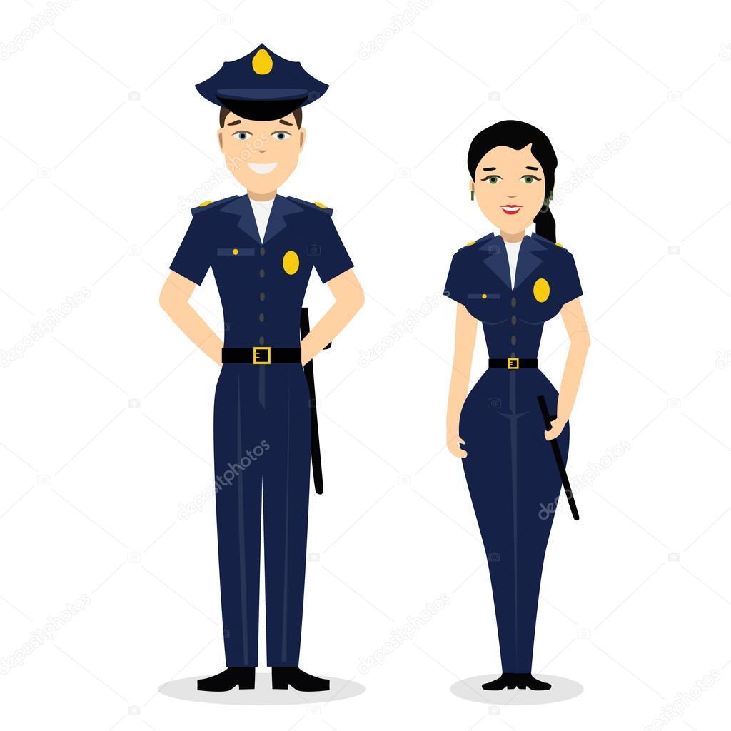 dois jovens policiais felizes  homem e mulher vetores de police clipart black and white policeman clipart black and white