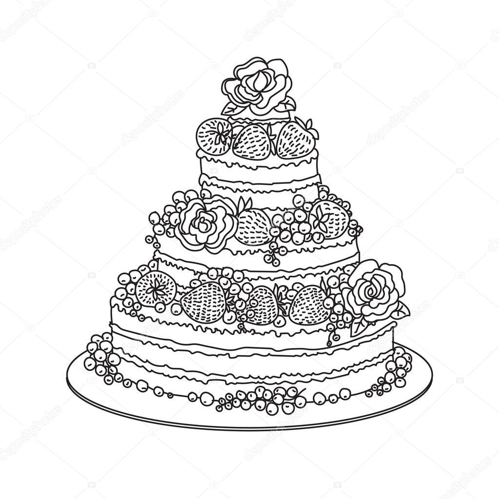 Dibujo de pastel de celebración — Archivo Imágenes Vectoriales ...