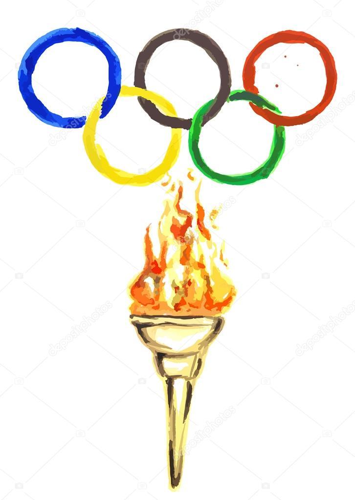 Картинка олимпийские кольца и факел