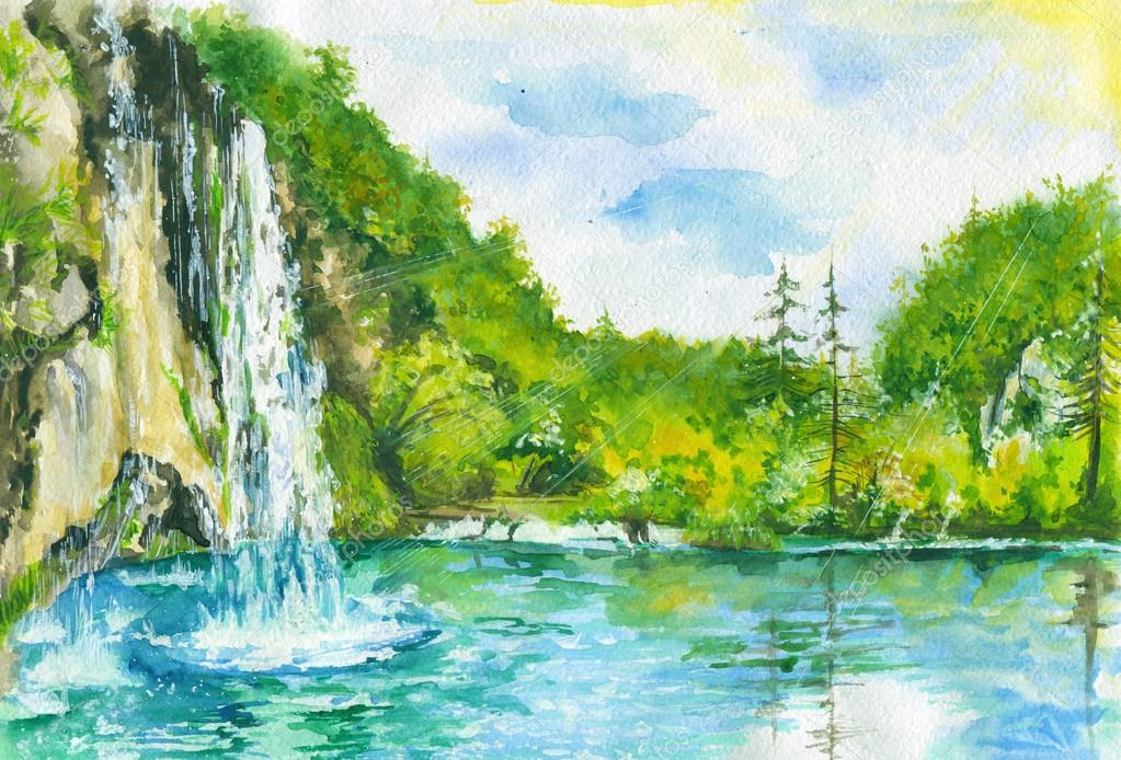 Watercolor landscape with waterfall.