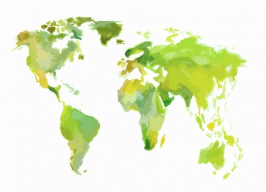 Watercolor green world map.