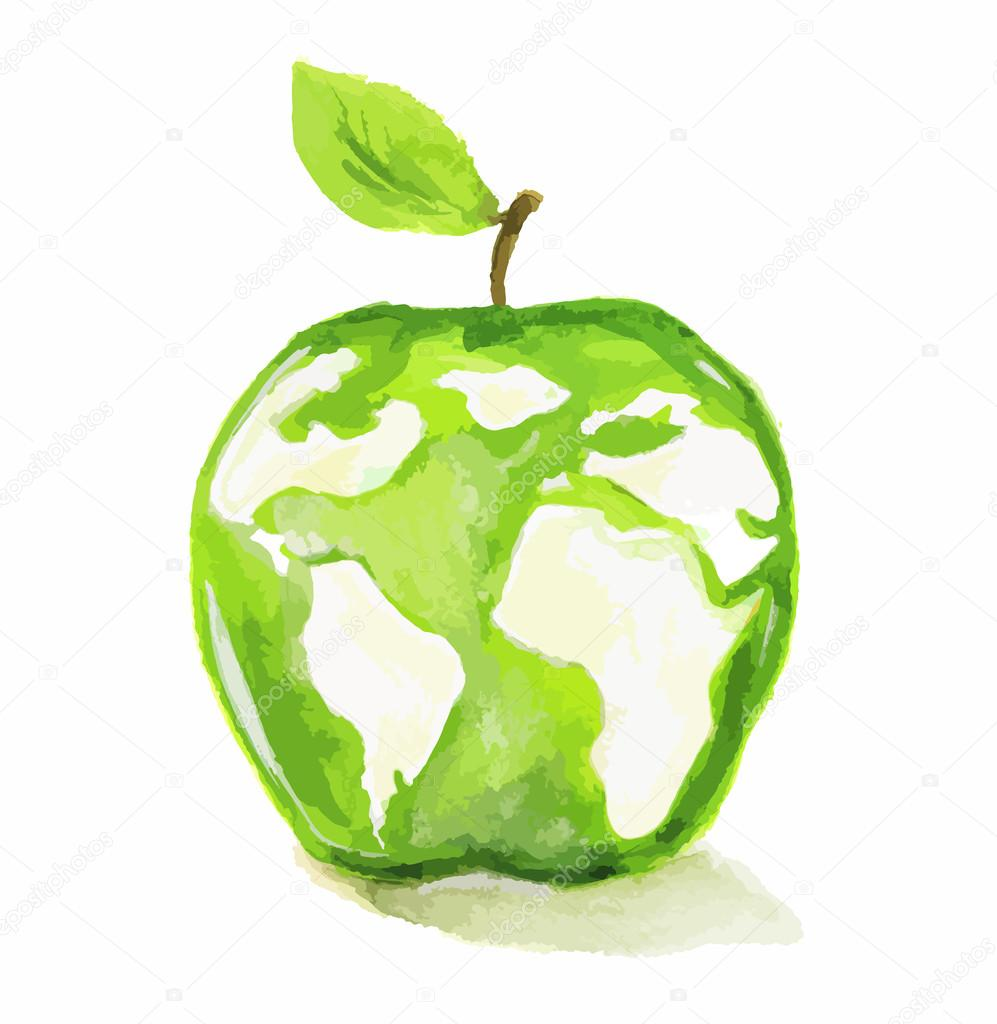 Watercolor apple world map stock vector inspiringctorail watercolor apple world map stock vector gumiabroncs Gallery