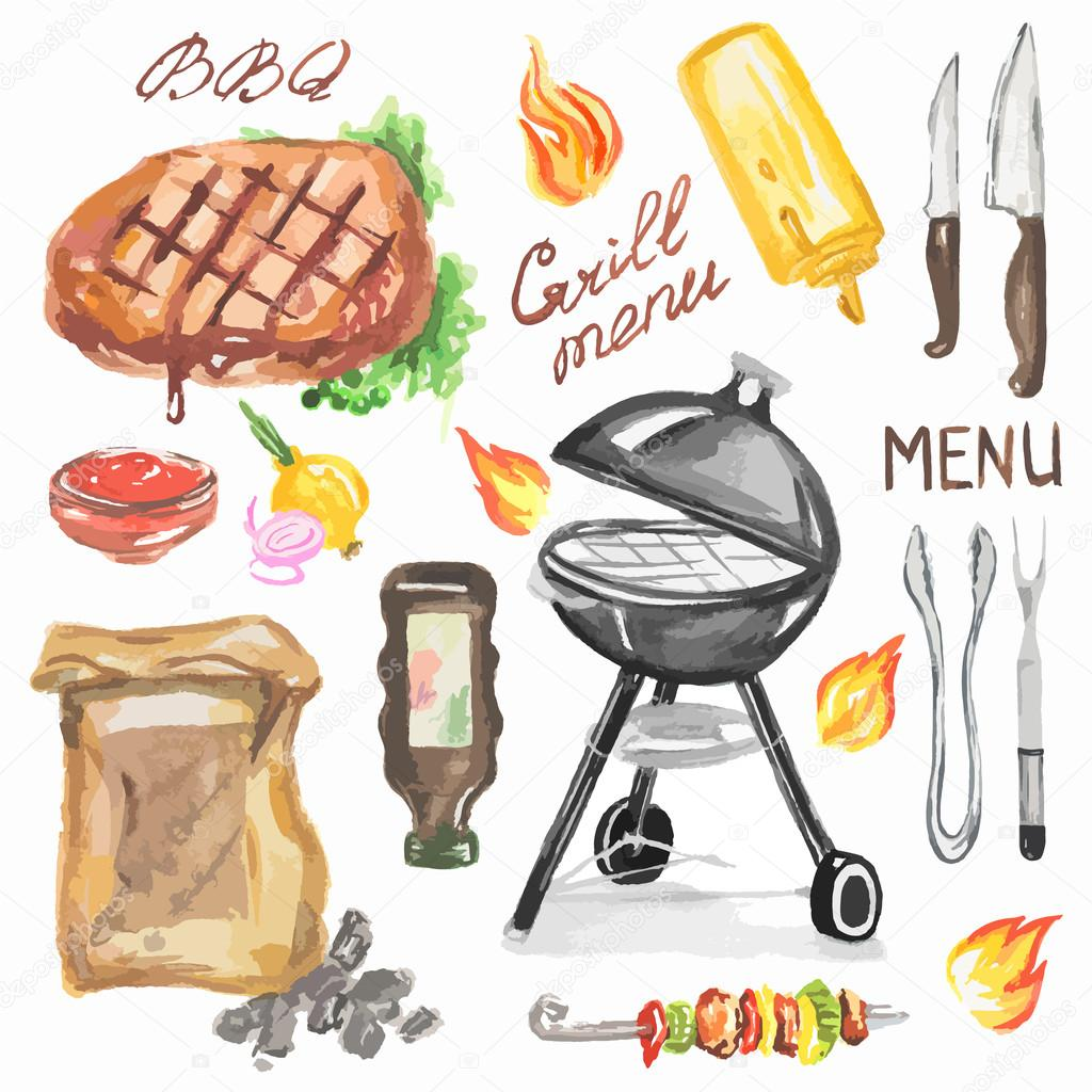 Watercolor bbq grill party set. — Stock Vector © inspiring.vector ...