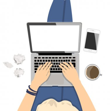 Girl with laptop. Seen from above, plan view. Concept of home office, surfing the Internet, writing and freelance. clip art vector