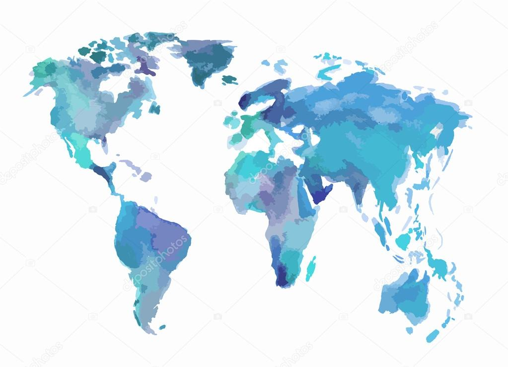 Watercolor blue world map stock vector inspiringctorail watercolor blue world map stock vector gumiabroncs Images