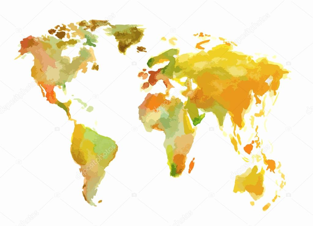 Watercolor world map stock vector inspiringctorail watercolor world map beautiful map with lands and islands watercolor illustration for decoration vector by inspiringctorail gumiabroncs Images
