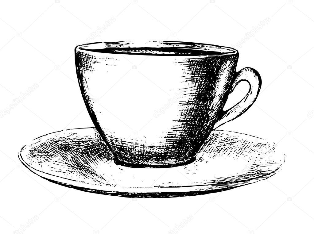 Hand Gezeichneten Kaffeetasse Stockvektor Inspiring Vector Gmail