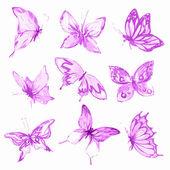 Watercolor butterflies set.