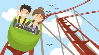 Rollercoaster in amusement park.
