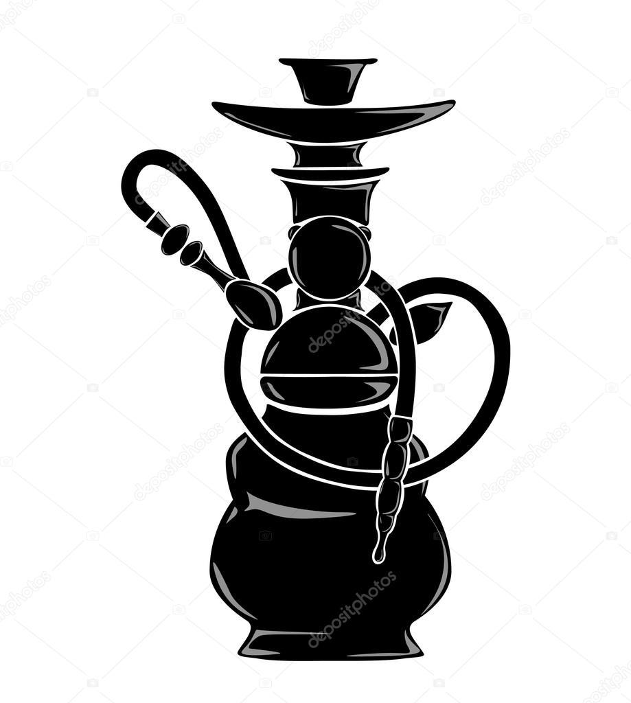 Black hookah silhouette.